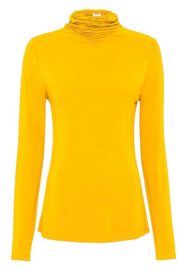 Żółta bluzka bonprix z golfem, z długim rękawem, długa