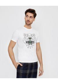 Kenzo - KENZO - Biała koszulka Tiger. Okazja: na co dzień. Kolor: biały. Materiał: bawełna. Wzór: nadruk, aplikacja. Styl: klasyczny, casual