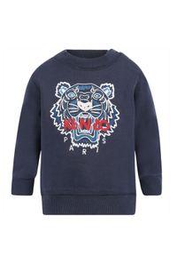 Kenzo kids - KENZO KIDS - Granatowa bluza Tiger. Kolor: niebieski. Materiał: bawełna. Wzór: haft