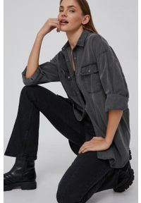 Answear Lab - Koszula jeansowa. Kolor: szary. Materiał: jeans. Długość: długie. Styl: wakacyjny