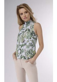 Zielona bluzka Nommo z golfem, bez rękawów, elegancka