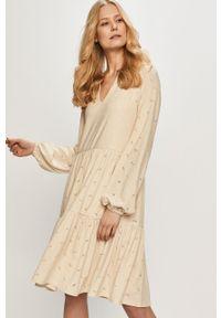 Kremowa sukienka Vila gładkie, na co dzień, z długim rękawem