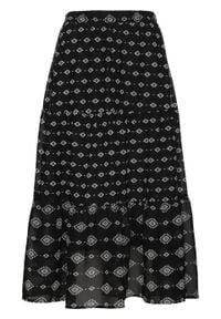 Spódnica z szyfonu bonprix czarno-biały z nadrukiem. Kolor: czarny. Materiał: szyfon. Wzór: nadruk
