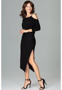 e-margeritka - Sukienka asymetryczna z kimonowym rękawem czarna - m. Kolor: czarny. Materiał: poliester, wiskoza, materiał, elastan. Sezon: jesień. Typ sukienki: asymetryczne. Długość: midi