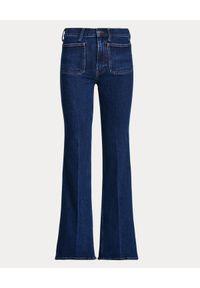Ralph Lauren - RALPH LAUREN - Szerokie spodnie Jenn Flare. Kolor: niebieski. Wzór: aplikacja