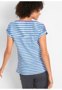 Shirt bawełniany z krótkim rękawem bonprix błękitno-biały w paski. Kolor: niebieski. Materiał: bawełna. Długość rękawa: krótki rękaw. Długość: krótkie. Wzór: paski