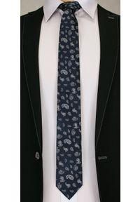 Modny, Męski Krawat we Wzór Paisley - 6 cm - Angelo di Monti, Granatowo-Biały. Kolor: niebieski. Wzór: paisley