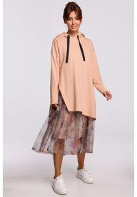 e-margeritka - Bluza długa z kapturem oversize beżowa - l/xl. Typ kołnierza: kaptur. Kolor: beżowy. Materiał: bawełna, dzianina, materiał, elastan. Długość: długie