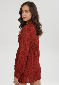 Born2be - Brązowa Sukienka Helerona. Kolor: brązowy. Długość rękawa: długi rękaw. Wzór: kropki. Typ sukienki: rozkloszowane. Styl: retro. Długość: mini