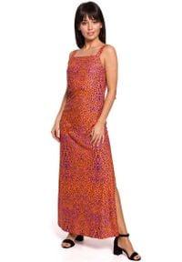 MOE - Długa Sukienka w Cętki na Ramiączkach - Pomarańczowa. Kolor: pomarańczowy. Materiał: poliester, elastan, bawełna. Długość rękawa: na ramiączkach. Długość: maxi