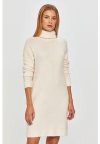 Biała sukienka Vila z długim rękawem, prosta