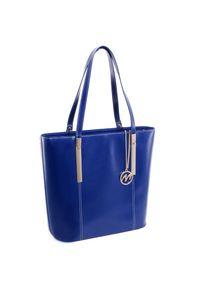 Niebieska torebka MCKLEIN w kolorowe wzory, klasyczna, na ramię