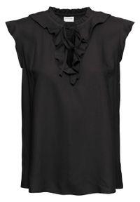 Bluzka bez rękawów, z falbaną bonprix czarny. Kolor: czarny. Długość rękawa: bez rękawów