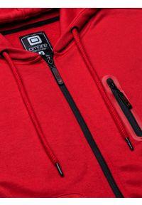 Ombre Clothing - Bluza męska rozpinana z kapturem B1086 - czerwona - XXL. Typ kołnierza: kaptur. Kolor: czerwony. Materiał: poliester, bawełna