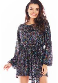 Awama - Luźna Mini Sukienka w Stylu Glamour - Kolorowa. Materiał: poliester. Wzór: kolorowy. Styl: glamour. Długość: mini