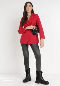 Born2be - Czerwona Marynarka Ianthathe. Kolor: czerwony. Materiał: jeans, materiał #3