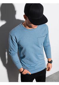 Ombre Clothing - Bluza męska bez kaptura B1149 - błękitna - XXL. Typ kołnierza: bez kaptura. Kolor: niebieski. Materiał: bawełna, jeans, materiał, poliester. Wzór: melanż