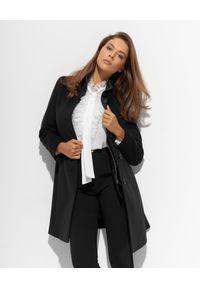 CINZIA ROCCA - Czarny płaszcz z satynowym kołnierzem. Kolor: czarny. Materiał: satyna
