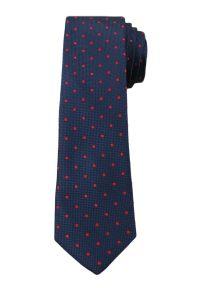 Casualowy Krawat Męski w Czerwone Groszki - 6 cm - Angelo di Monti, Granatowy. Okazja: na co dzień. Kolor: niebieski. Wzór: grochy. Styl: casual