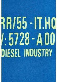 Niebieski t-shirt Diesel z nadrukiem