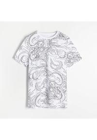Reserved - T-shirt z grafiką - Kremowy. Kolor: kremowy