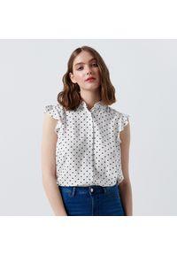 Biała koszula Cropp z falbankami