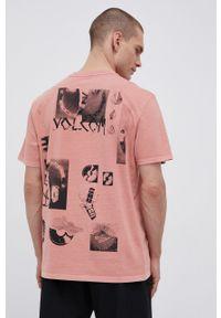 Volcom - T-shirt bawełniany. Kolor: różowy. Materiał: bawełna. Wzór: nadruk