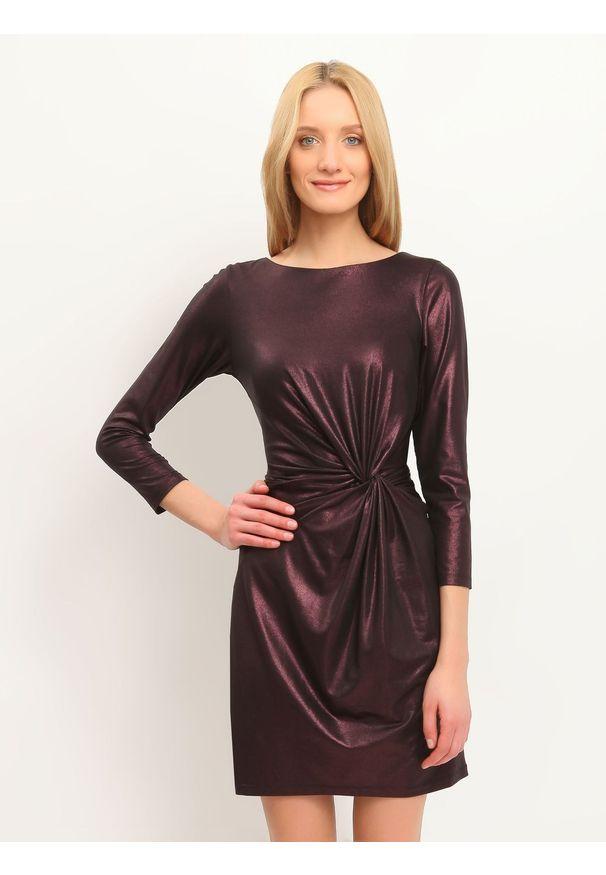 TOP SECRET - Sukienka damska gładka, kolorowa. Okazja: na imprezę. Kolor: fioletowy. Materiał: tkanina. Wzór: gładki, kolorowy. Sezon: jesień, zima