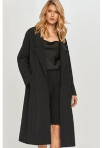 Czarny płaszcz Samsoe & Samsoe bez kaptura, klasyczny, gładki, raglanowy rękaw