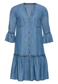 """Sukienka koszulowa z falbanami, z tencelu bonprix niebieski """"stone"""". Kolor: niebieski. Typ sukienki: koszulowe"""