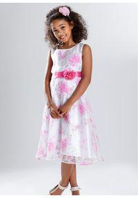 Sukienka dziewczęca na uroczyste okazje bonprix biało-różowy. Kolor: biały. Wzór: aplikacja, nadruk