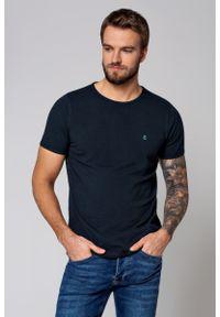 Niebieski t-shirt Lancerto casualowy, na co dzień, w kolorowe wzory, z okrągłym kołnierzem
