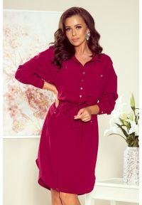 Numoco - Swobodna koszulowa sukienka z wiązaniem w talii. Materiał: materiał, elastan. Typ sukienki: koszulowe