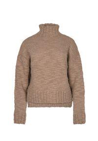 Beżowy sweter VEVA melanż, elegancki, z golfem
