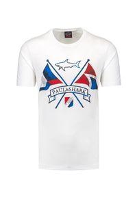 T-shirt Paul and Shark z nadrukiem, krótki, klasyczny, na lato