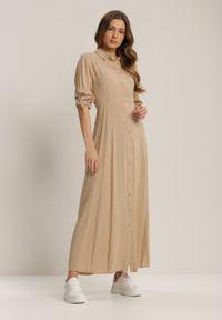 Renee - Beżowa Sukienka Hillcrest. Kolor: beżowy. Długość rękawa: długi rękaw. Typ sukienki: koszulowe. Długość: maxi