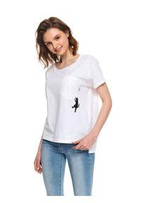 Biały t-shirt TOP SECRET z krótkim rękawem, casualowy, na lato