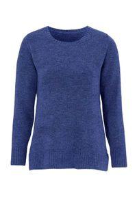 Niebieski sweter Cellbes melanż, z okrągłym kołnierzem, elegancki, długi