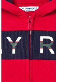 Czerwona bluza rozpinana Mayoral z nadrukiem, casualowa, z kapturem