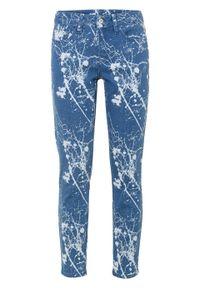 """Dżinsy SKINNY z bawełny organicznej bonprix niebieski """"stone"""". Kolor: niebieski. Wzór: nadruk"""