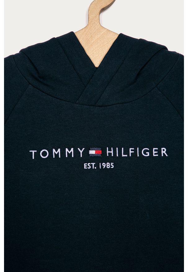 Niebieska sukienka TOMMY HILFIGER z okrągłym kołnierzem, z długim rękawem