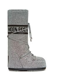 Srebrne buty zimowe Moon Boot z cholewką, w kolorowe wzory