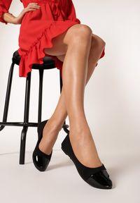 Born2be - Czarne Balerinki Athilertes. Nosek buta: okrągły. Zapięcie: bez zapięcia. Kolor: czarny. Materiał: koronka, lakier. Wzór: gładki. Obcas: na płaskiej podeszwie