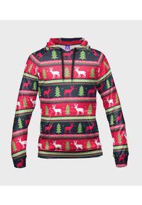 MegaKoszulki - Bluza damska fullprint z kapturem Christmas sweater. Typ kołnierza: kaptur. Materiał: dresówka, dzianina