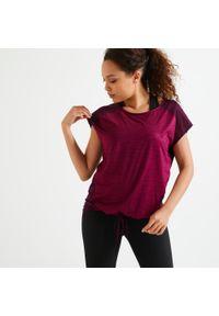 DOMYOS - Koszulka fitness damska Domyos krótki rękaw. Materiał: poliester, materiał, elastan. Długość rękawa: krótki rękaw. Długość: krótkie. Sport: fitness