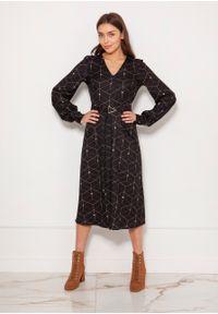 e-margeritka - Sukienka midi elegancka z bufiastymi rękawami - 36. Okazja: do pracy. Materiał: materiał, poliester. Typ sukienki: proste, rozkloszowane. Styl: elegancki. Długość: midi