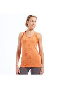 KIMJALY - Top do dynamicznej jogi damski. Kolor: pomarańczowy. Materiał: poliamid, materiał, poliester. Długość: długie. Wzór: ażurowy. Sport: joga i pilates