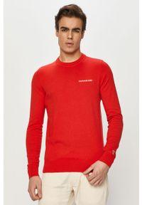 Czerwony sweter Calvin Klein Jeans z długim rękawem, długi, z aplikacjami