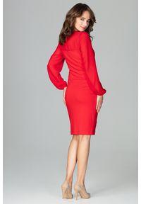 Sukienka koktajlowa elegancka, z kokardą