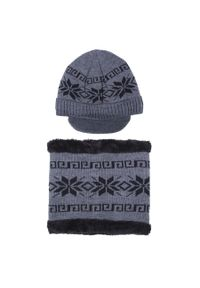 Szara czapka Giacomo Conti w kolorowe wzory, na zimę